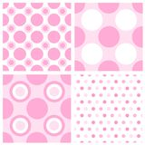 Baby girl background. Baby girl polka dots seamless patterns collection Royalty Free Stock Photos
