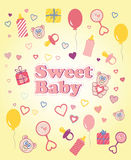 Baby girl background, colorful card Stock Image
