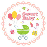 Baby girl background with decorative border Stock Photos