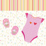 Baby girl background with shoes. And dress Royalty Free Stock Photo
