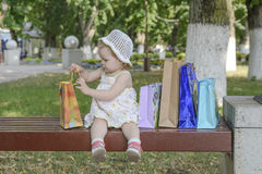 Baby girl bags Stock Photos