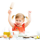 Baby girl baking Royalty Free Stock Images