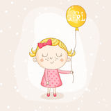 Baby Girl with a Balloon - Baby Shower or Arrival Card Royalty Free Stock Photography