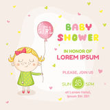 Baby Girl with a Balloon - Baby Shower or Arrival Card Royalty Free Stock Image