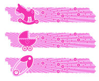 Baby Girl banners. With toys Stock Photos