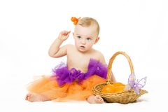 Baby girl with basket Stock Photography