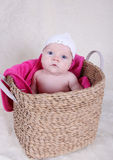 Baby girl in basket Royalty Free Stock Photo