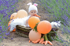 Baby girl in basket wearing rabbit suit Royalty Free Stock Image