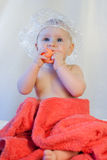 Baby girl after bath royalty free stock photos