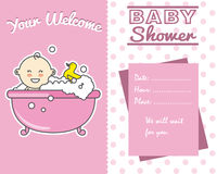 Baby girl in bath Stock Images