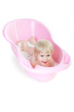 Baby girl bathing in the bath Royalty Free Stock Photo