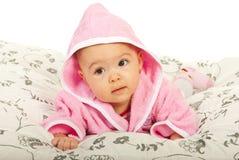 Baby girl in bathrobe Royalty Free Stock Photo