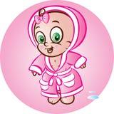 Baby girl in bathrobe Stock Image
