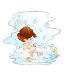 Baby girl in the bathroom. An illustration of a cute baby girl having bath with duck, drops and bubbles. Isolated on white Vector Illustration