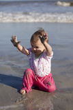 Baby girl at beach Royalty Free Stock Image