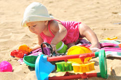 Baby girl  on the beach Royalty Free Stock Image