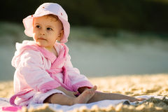 Baby girl on the beach Stock Photography