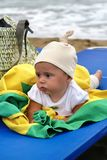 Baby girl on the beach royalty free stock photography