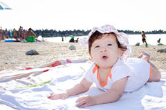 Baby girl on the beach Royalty Free Stock Images