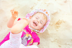 Baby girl beach Royalty Free Stock Photography