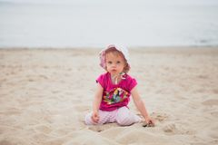 Baby girl beach royalty free stock image