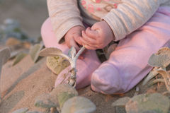 Baby girl on beach touching plants Royalty Free Stock Images