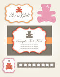 Baby Girl - Bear Invitation Set. A Cute set of of labels for a baby shower Royalty Free Stock Images