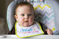 Baby girl being fed Royalty Free Stock Images