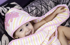 Baby girl with a big smile Stock Images