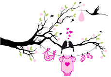 Baby girl with birds on tree, vector Stock Photos