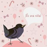 Baby Girl Birth announcement. Baby shower invitation card. Cute. Bird announces the arrival of a baby girl. `Es una nina` means `it`s a girl` Spanish Language Royalty Free Stock Photo