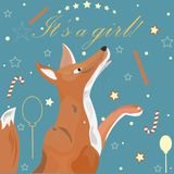 Baby Girl Birth announcement. Cute Fox announces the arrival of vector illustration