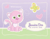 Baby girl birth announcement standard postcard. Birth announcement for a baby girl with a beautiful illustration of a kitten and a butterfy Stock Images