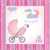 Baby Girl Birth Card Royalty Free Stock Photography