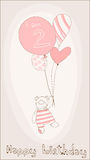 Baby Girl Birthday Card. With funny bear Stock Images