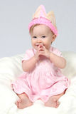 Baby Girl With Birthday Hat an Royalty Free Stock Photos
