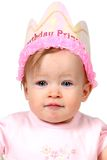 Baby Girl With Birthday Hat Stock Image