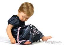 Baby Girl in Black Dress. With Jewelry Stock Images