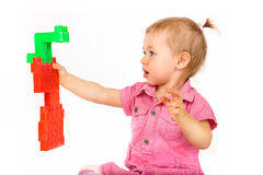 Baby girl with blocks Stock Image