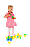 Baby girl with blocks Stock Photo