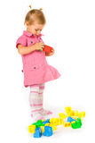 Baby girl with blocks Royalty Free Stock Image