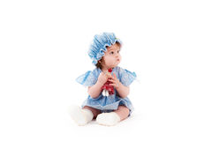 Baby girl in a blue dress Royalty Free Stock Photos