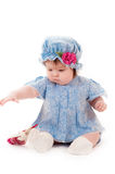 Baby girl in a blue dress Royalty Free Stock Images