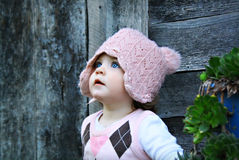 Baby girl with blue eyes royalty free stock photography