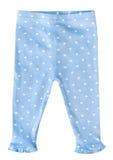 Baby girl blue leggings pants isolated. Stock Photo