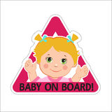 Baby Girl On Board. Vector Illustration. Baby On Board. Baby On Board Sign. Royalty Free Stock Photos