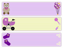 Baby girl borders. Three different baby girl borders Stock Photography