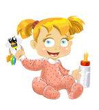 Baby girl with a bottle of milk. Vector baby girl with a bottle of milk royalty free illustration