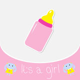 Baby girl bottle. Shower card Stock Images