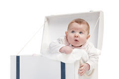 Baby girl in box Stock Photo